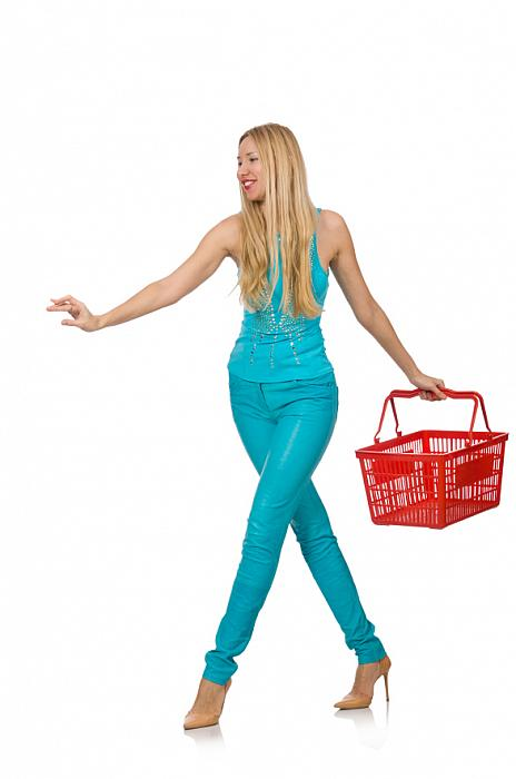 kozzi-Woman with shopping basket isolated on white-586x886